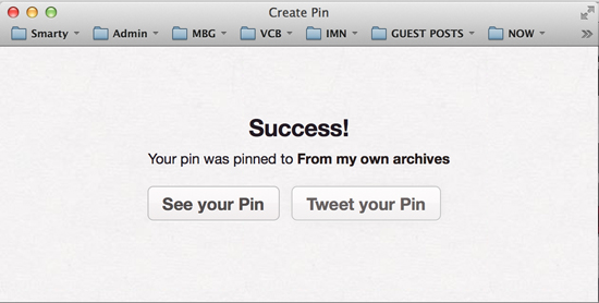 In aTweet that usually follows the Pin #Pinterest