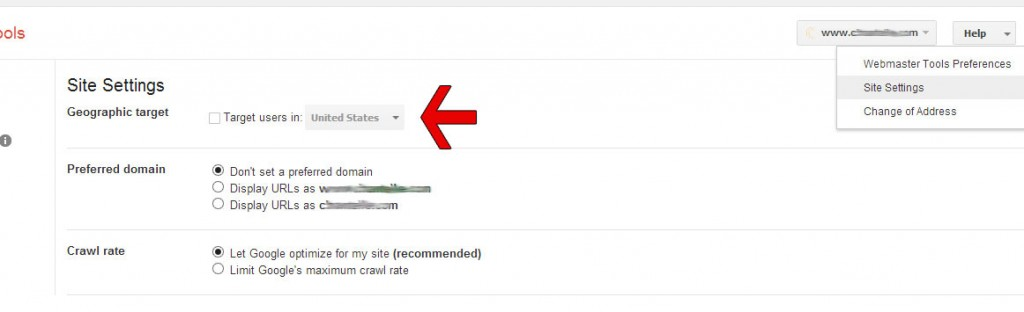 Geo Targeting in Google Webmaster Tools